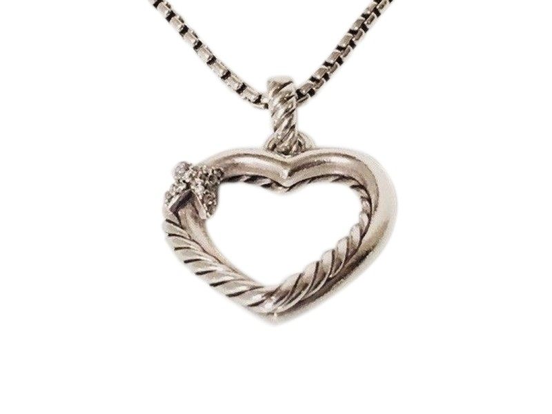 David Yurman 925 Sterling Silver with 0.06ctw Diamond X Cable Heart Pendant Necklace