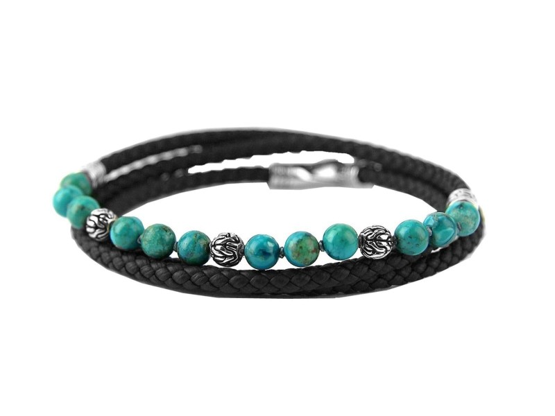 JOHN HARDY ST. SILVER TURQUOISE TRIPLE WRAP LEATHER BRACELET