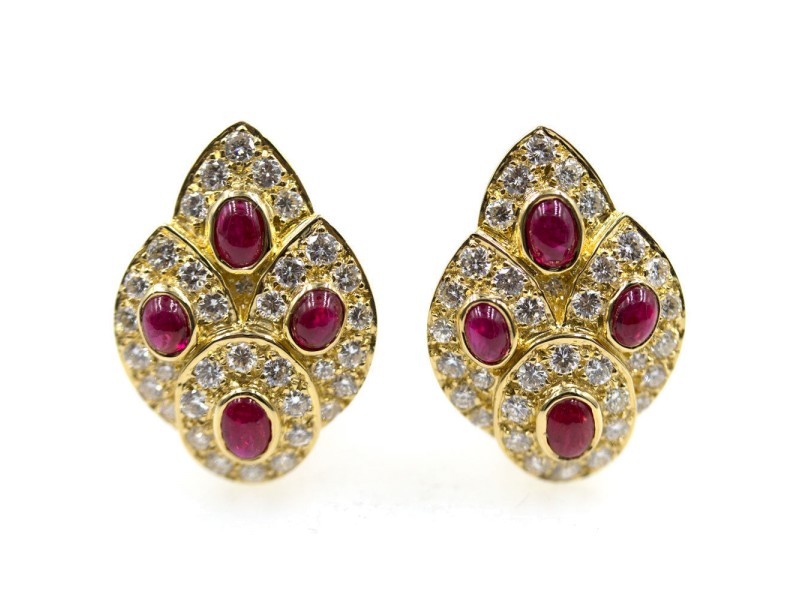 Vintage Van Cleef & Arpels 18K Yellow Gold Diamond & Ruby Earrings