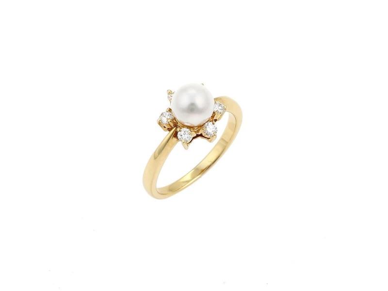 Mikimoto 18K Yellow Gold 0.12ctw Diamond Cultured Pearl Ring Size 5