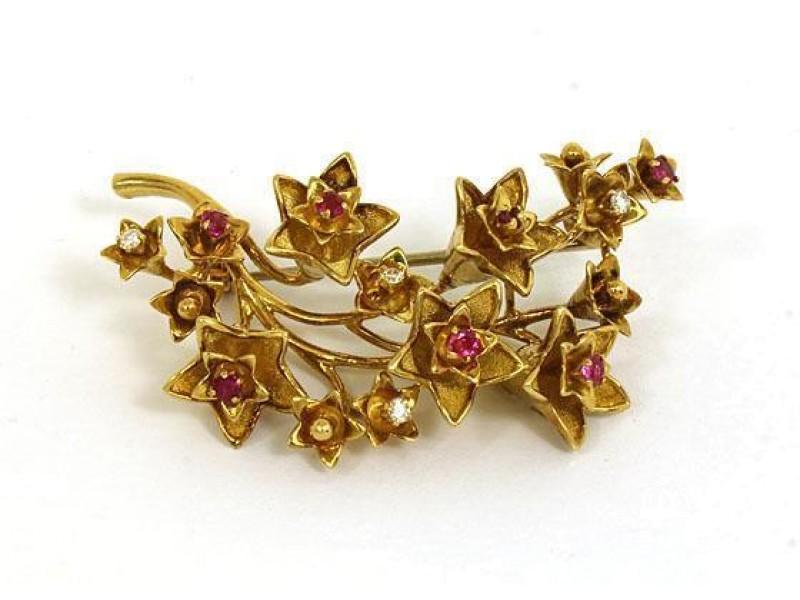 Tiffany & Co. 192668362317-E 18K Yellow Gold Ruby, Diamond Brooch