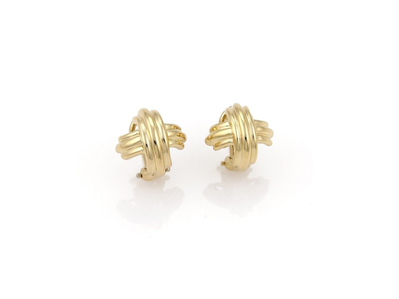 Tiffany & Co. 18K Yellow Gold Signature X Crossover Post Clip Earrings