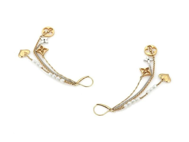 c5e7defa0b4 Louis Vuitton Monogram 18k Two Tone Gold Pearls 4 Strand Dangle Earrings