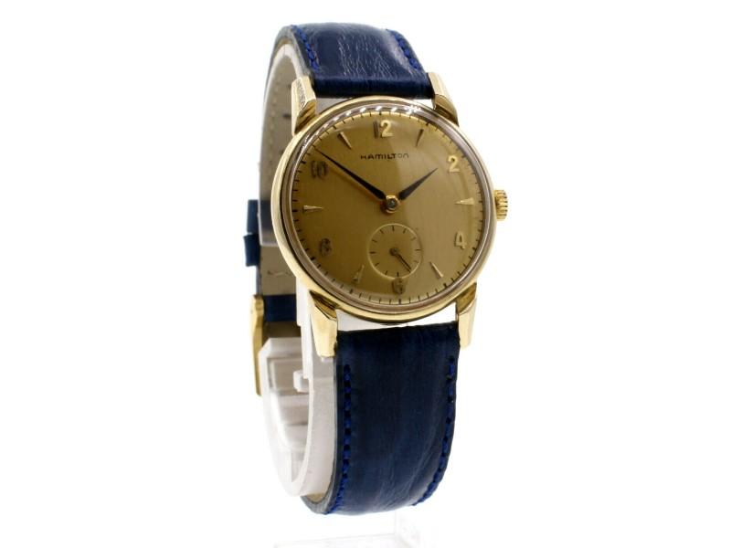 Vintage Hamilton 14k Yellow Gold Manual Wind Round Mens Watch