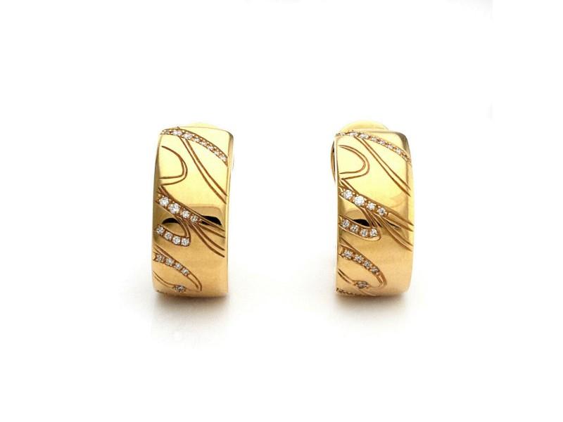 Chopard Chopardissimo Diamond 18k Yellow Gold 7.6mm Wide Huggie Earrings