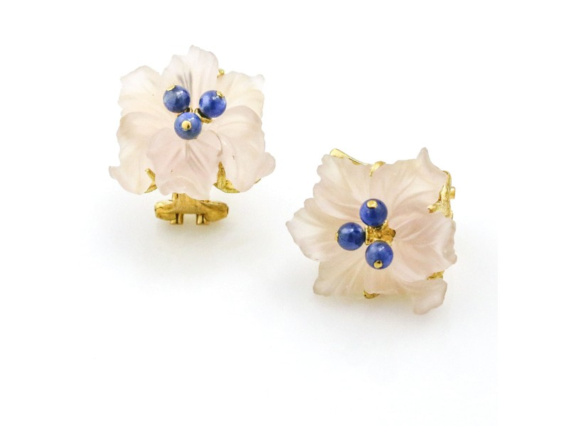 Buccellati Sapphire Rose Quartz Flower Stud Earrings in 18k Yellow Gold
