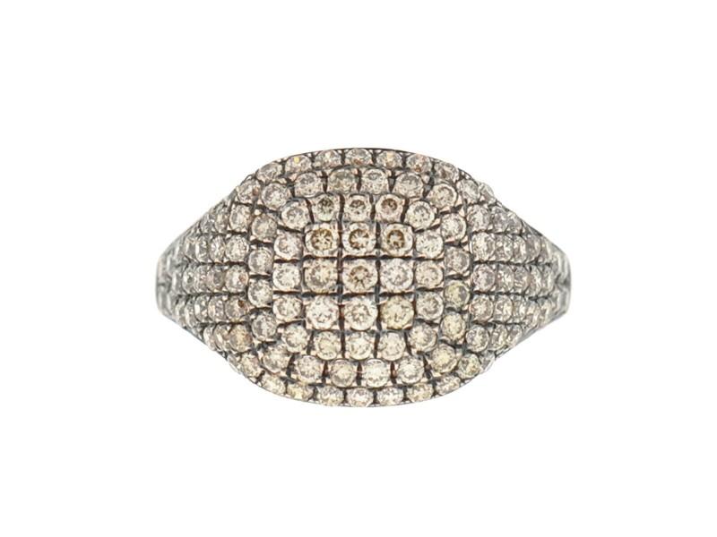 Jennifer Miller 14k Rose Gold Pave Diamond Pinky Ring Approx .53Cts