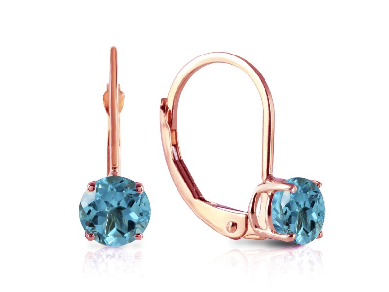 1.2 CTW 14K Solid Rose Gold Solitaire Blue Topaz Earrings
