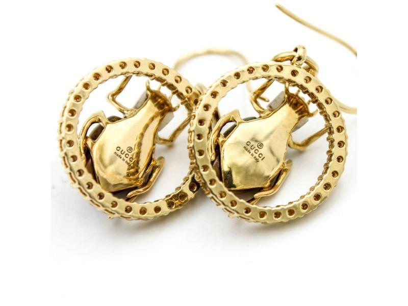 Gucci 18k Yellow Gold Diamond Dangle Scarab Earrings