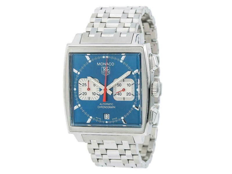 Tag Heuer Monaco CW2113-0 Men's Automatic Watch Stainless Steel Blue Dial 38mm