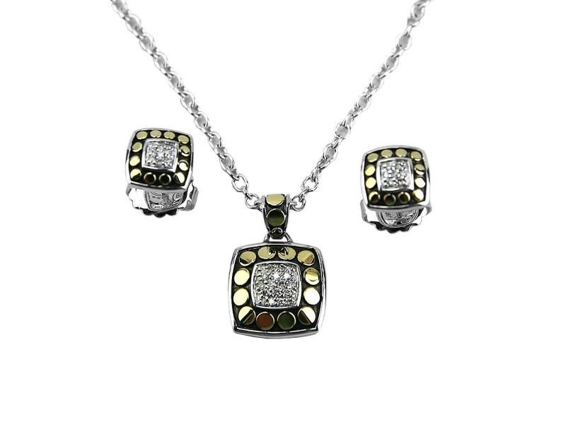 JOHN HARDY STERLING SILVER 18K GOLD DIAMOND SET DOT EARRINGS & NECKLACE