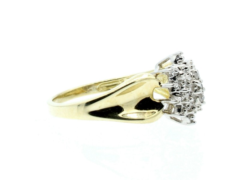 Estate 10k Yellow White gold Sun Burst  Diamonds Cluster Ladies Ring Size 7