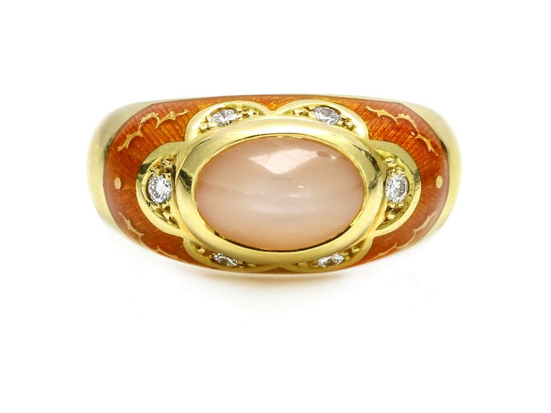Faberge Pink Moonstone Ring with Diamonds in 18k Yellow Gold