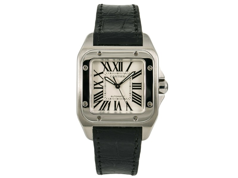 Cartier Santos 100 2878 W20106X8 Unisex Automatic Watch silver Dial SS 33mm