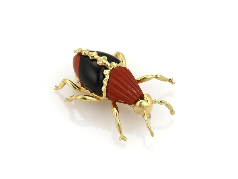 Robert Wander Winc 18k Yellow Gold Jasper & Onyx Beetle Brooch Pin