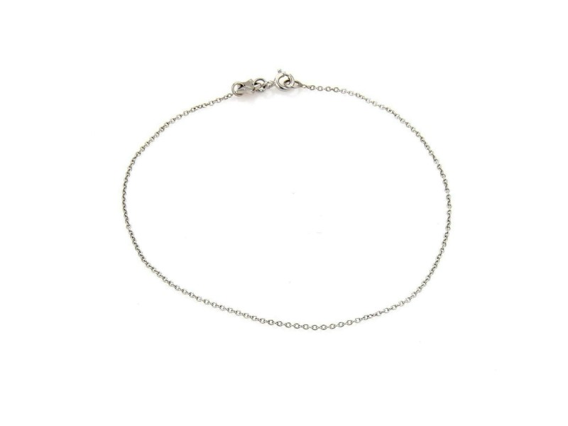 "Pasquale Bruni 18k White Gold Chain Link Anklet 10"" Long"