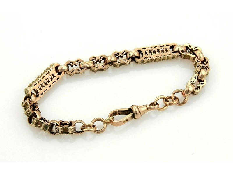 Antique 9k Rose Gold Fancy Design Engraved Bracelet