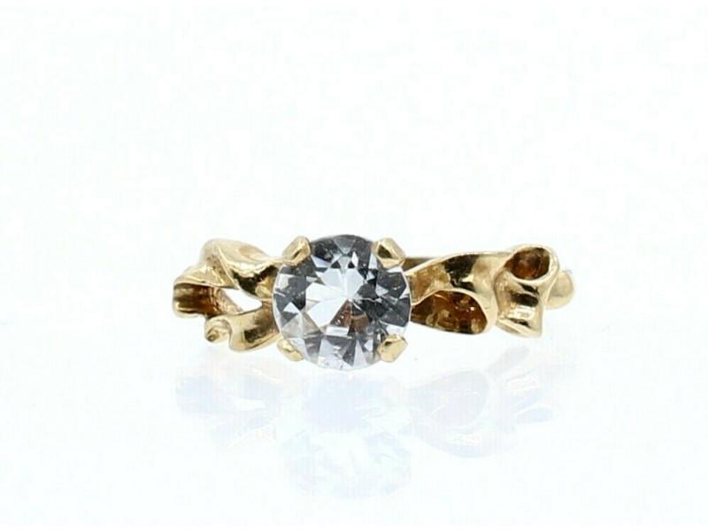 14k Yellow Gold Round CZ Stone Free Form Ladies Ring Size 5.5