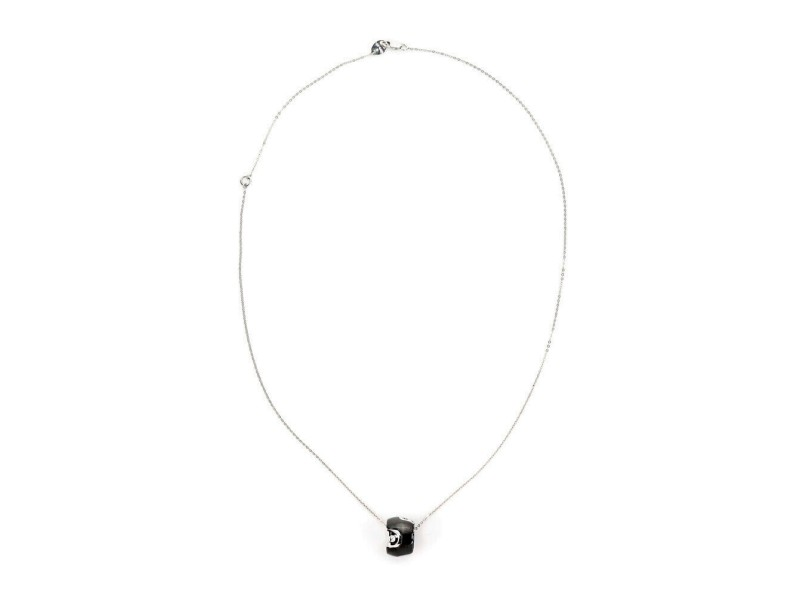Damiani Diamond Black Ceramic 18k White Gold Mini Ring Pendant & Chain