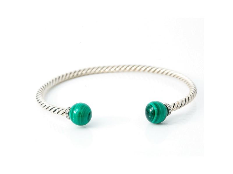 David Yurman 925 Sterling Silver Malachite Diamond Solari Bangle Bracelet Size M