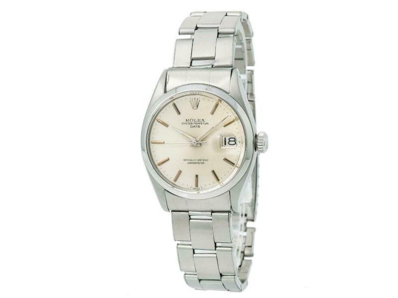 Rolex Date 6534 Vintage Mens Automatic Watch Silver Dial Stainless Steel 34mm