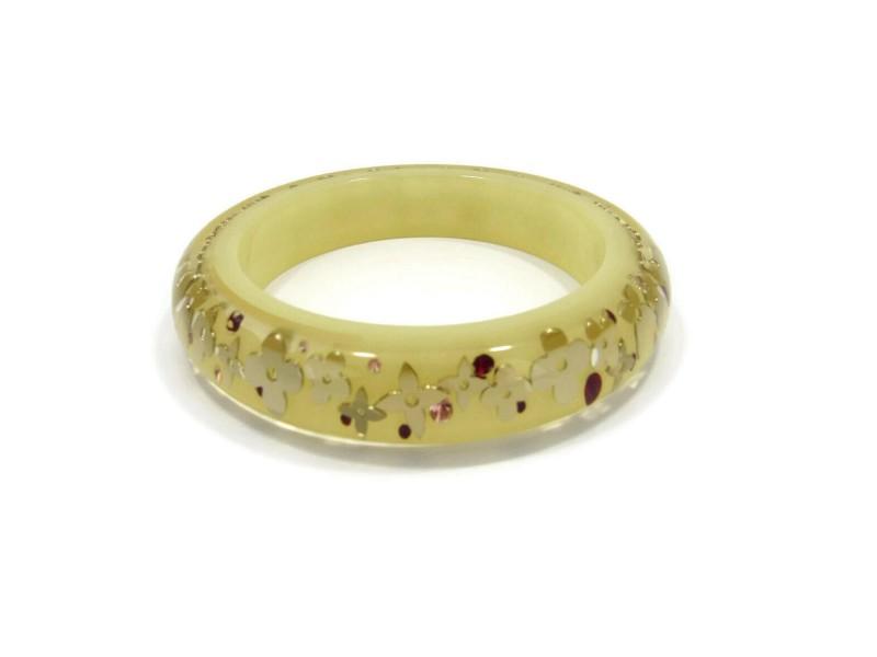 Louis Vuitton Monogram Inclusion Yellow Resin Dome Bangle Bracelet