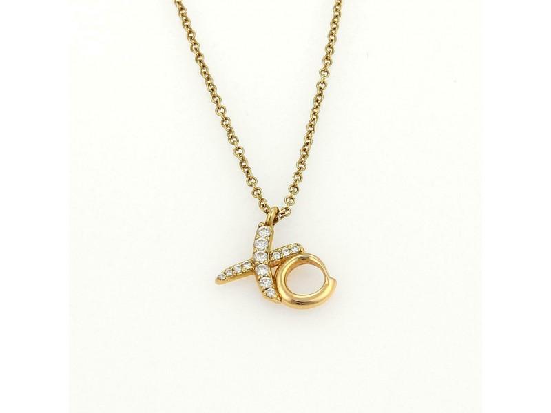 Tiffany & Co. Picasso Diamond Hug & Kiss XO 18K Yellow Gold  Pendant