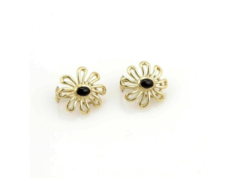 Tiffany & Co. Picasso Onyx 18k Yellow Gold Daisy Flower Earrings