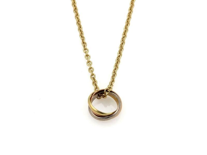 Cartier Trinity 18k Tri-Color Gold Mini Ring Pendant Necklace