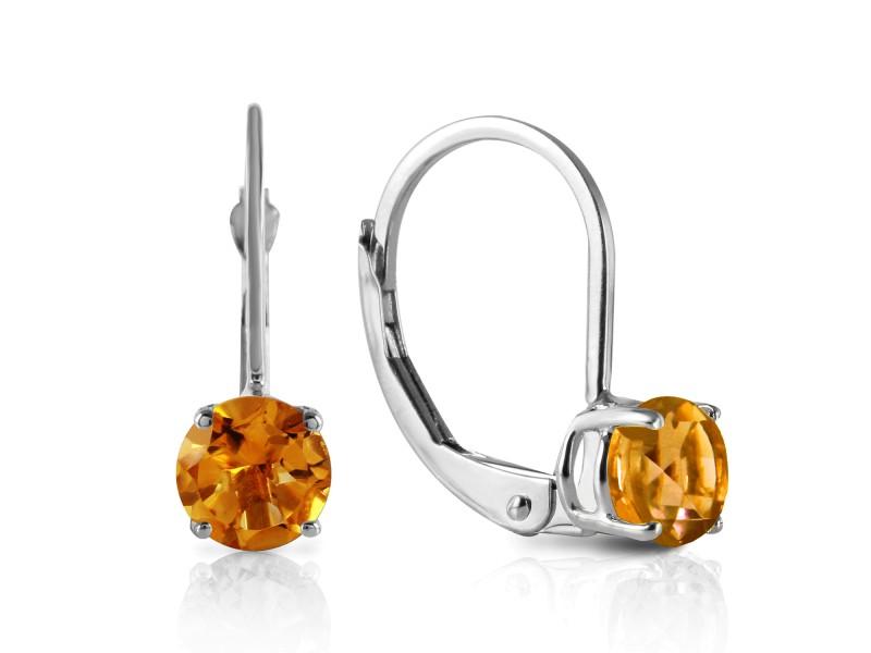 1.2 CTW 14K Solid White Gold Mending Fences Citrine Earrings