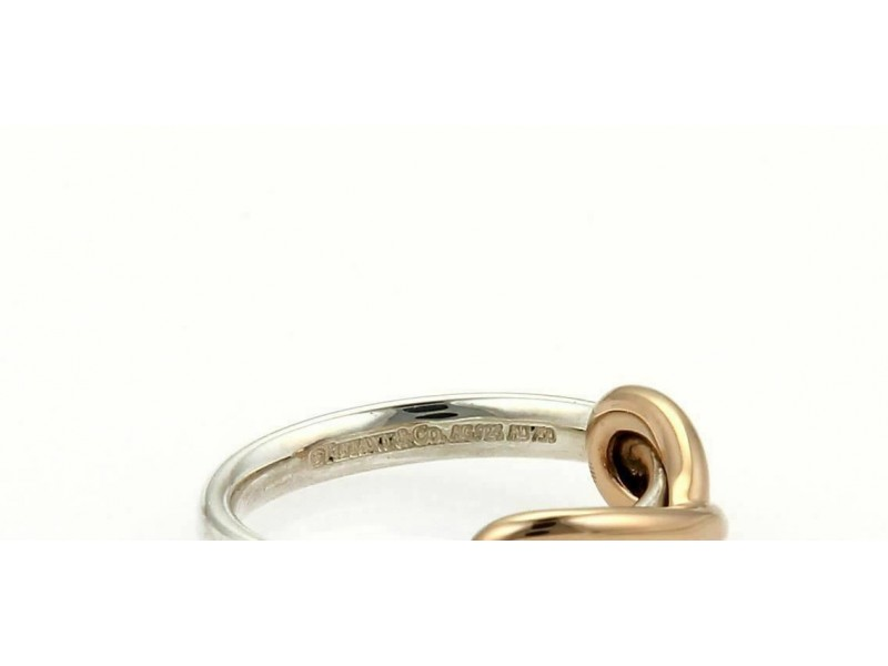 Tiffany & Co. Picasso Infinity 18k Rose Gold & Silver Band Ring- Size 3.5