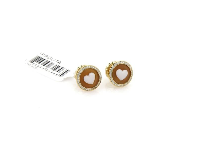 Ippolita Rock Candy Diamond Cameo Heart 18k Yellow Gold Stud Earrings