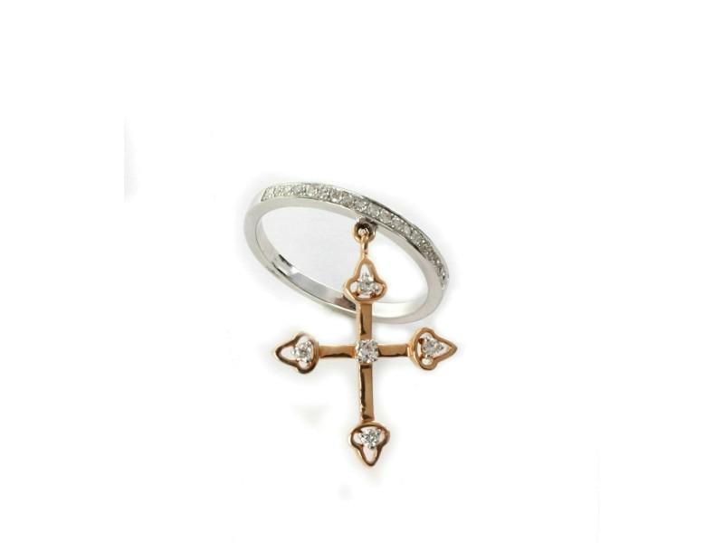 Diamond Dangle Cross Charm 18k Pink & White Gold Band Ring