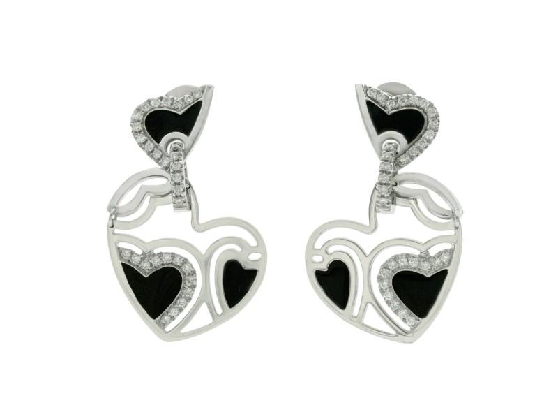 Auth ROBERTO COIN 18K White Gold Diamonds & Black Enamel Heart Earrings » U321