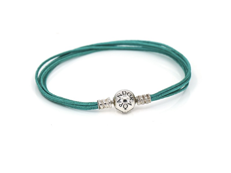 Pandora Multi-Strand Turquoise Blue Cord Charm Bracelet Sterling Silver