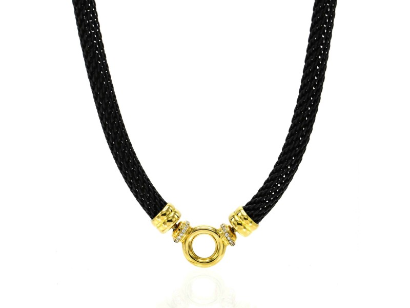Black Rhodium Sterling Silver 18k Yellow Gold Chain Necklace