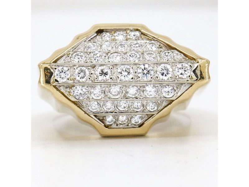 1.12 Carat 14k Yellow Gold Diamond Retro Statement Ring