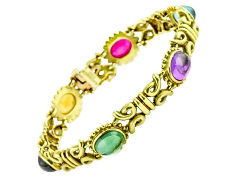 Aletto & Co. Gemstone Link Bracelet in 18k Yellow Gold