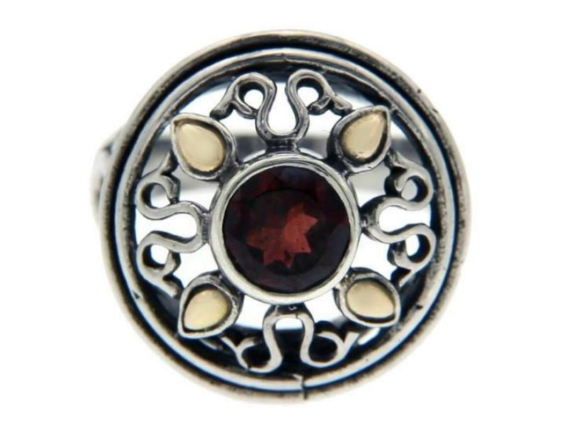 Solid Sterling Silver & 14 K Gold Garnet Ring»R26