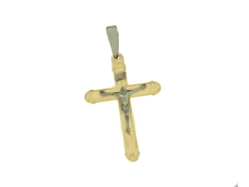¦Solid 14k Gold Jesus Crucifix 46 mm Height Halo Cross Pendant »G119