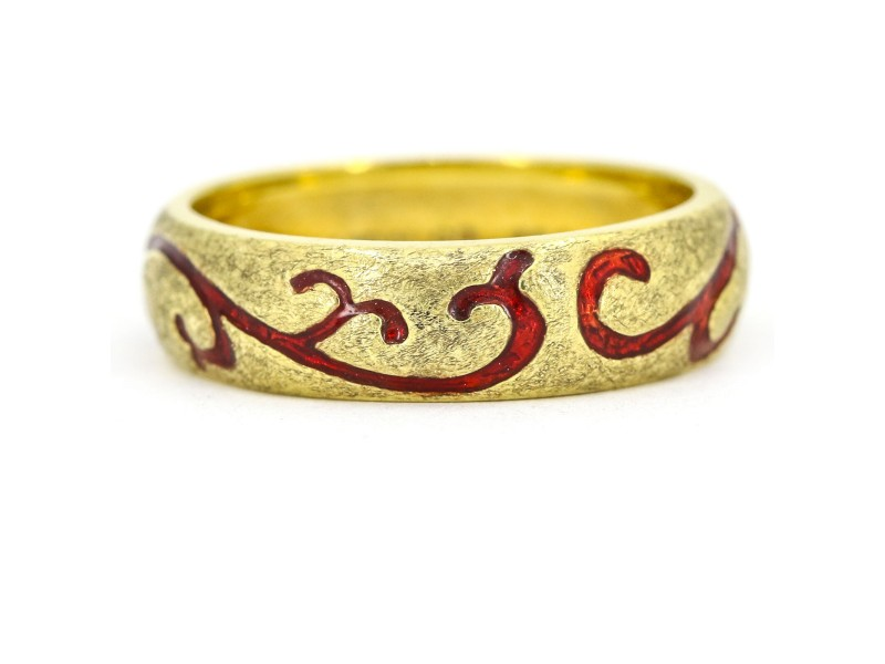 Hidalgo Red Enamel Floral Swirl Textured 18k Yellow Gold Band Ring