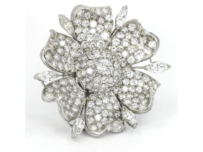 12.50 Carat Diamond Platinum Flower Brooch Vintage Pin