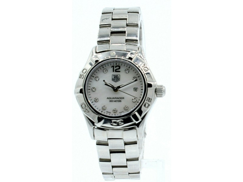Ladies TAG HEUER Aquaracer White Mother of Pearl and Diamond dial Watch