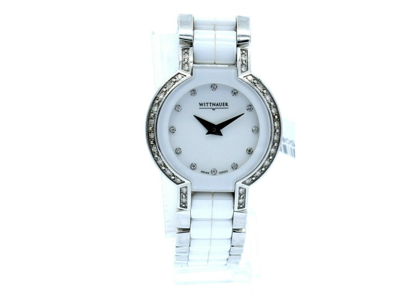 Wittnauer 12R103 Diamond Bezel White Ceramic & Stainless Steel Ladies Watch