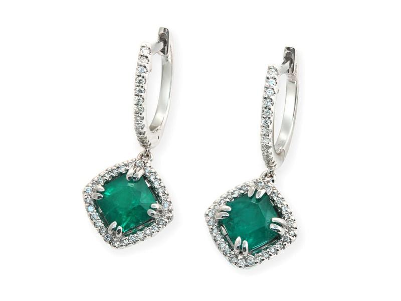 1.46 CT Colombian Emerald & 0.25 CT Diamonds 18K White Gold 23 mm Drop Earrings
