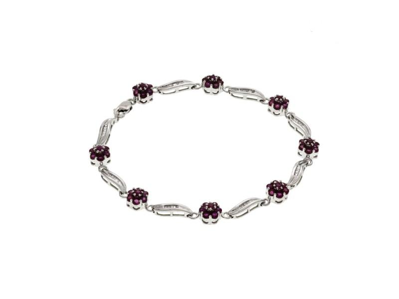 "1.68 CT Natural Pink Sapphire & 0.40 Diamonds 14K White Gold Bracelet 7"""
