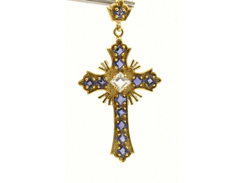 18k Yellow Gold Amethyst Ornate Cross
