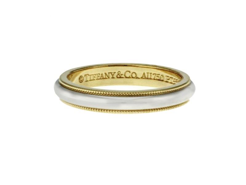 Tiffany & Co. 18k Yellow Gold & Platinum Milgrain 3 mm Band Ring Size 7 $1200