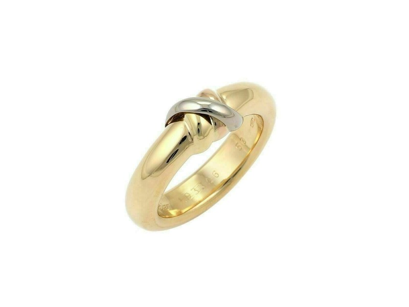 Cartier Trinity Top 18k Tri Gold Dome Ring Size 50 w/Certificate