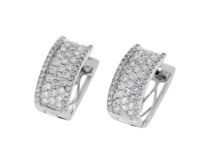 1.26 CT Pave F Color VS1 Diamonds in 18K White Gold Huggie Hoop Earrings »N19